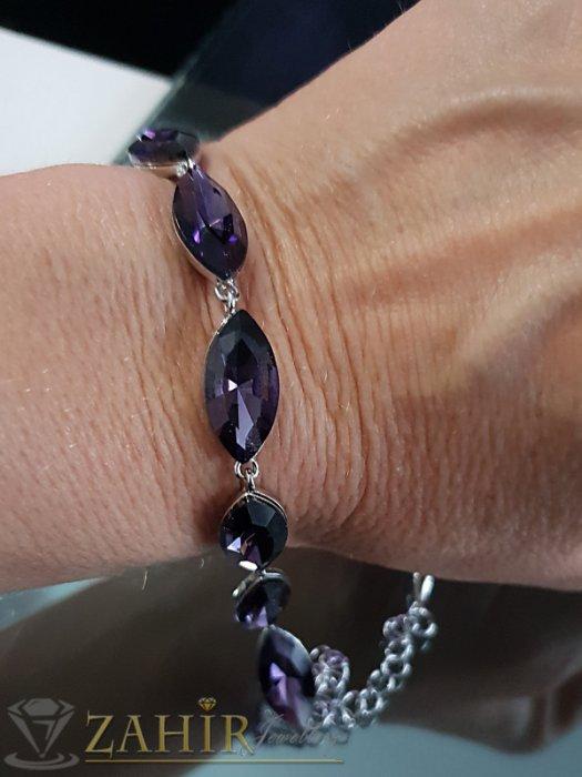 Дамски бижута - Атрактивна виолетова кристална гривна със сребърно покритие, регулираща се дължина - G2010