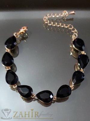 Позлатена гривна с черни кристали във формата на капки, регулираща дължина - G2011