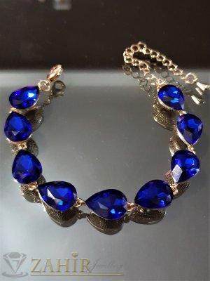Позлатена гривна със сини кристали във формата на капки, регулираща дължина - G2012