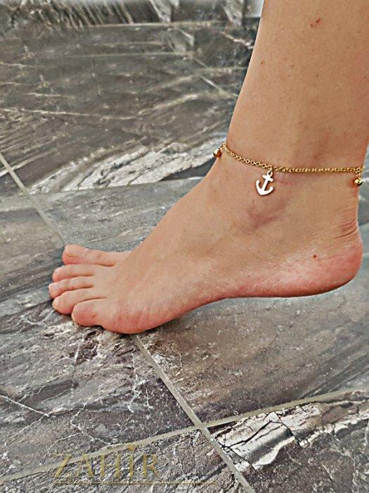 Дамски бижута - Стоманена гривна за крак 23 + 5 см с висулки котви, златно покритие - GK1064