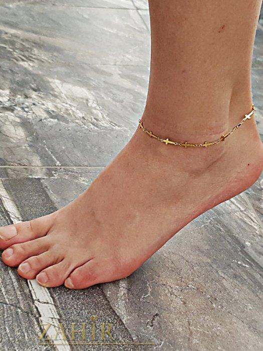 Дамски бижута - Стоманена гривна за крак 24 см с нежни кръстове , златно покритие - GK1066