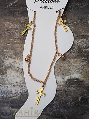 Стоманена гривна за крак с висулки кръстове, златно покритие, дълга 24 см - GK1071