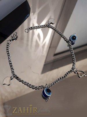 Непроменяща цвета си стоманена гривна за крак 24 см със сърца и синьо око - GK1077