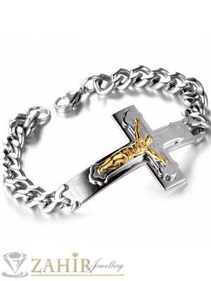 Непроменяща цвета си стоманена гривна 22 см с плочка 5 см кръст с Исус, ширина на плетката 1 см - GS1246