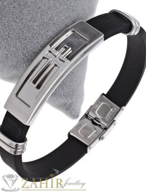 Черна силиконова гривна 21 см, широка 1 см със стоманена плочка 5 см с гравиран кръст - GS1248