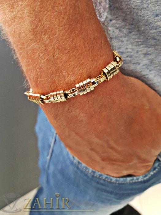 Бижута за мъже - Великолепна позлатена стоманена гривна, дълга 21 см, широка 0,9 см - GS1290