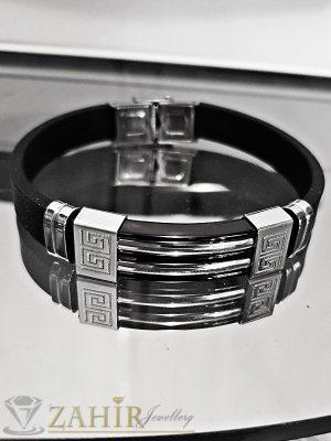 Черна стоманена плочка 4 см на черна силиконова гривна 21 см, широка 1 см - GS1308