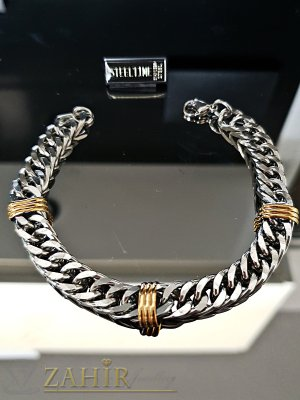 Класическа стоманена гривна тип верижка с позлатени елементи, дълга 22 см, широка 0,9 см - GS1316