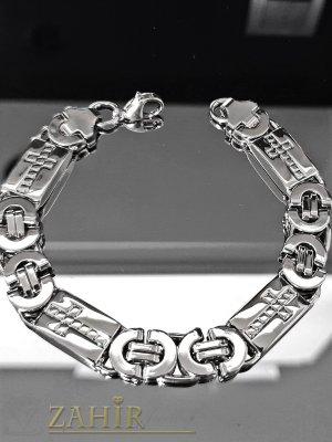 Елегантна стоманена гривна с гравирани кръстове, дълга 21 см, широка 0,6 см - GS1318