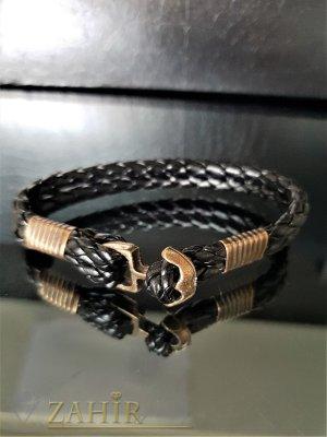 Черна кожена гривна с бронзова котва и детайли, налична в 2 размера - GS1322
