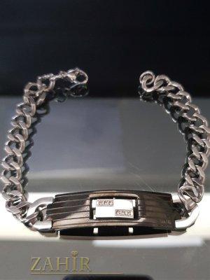 Висококачествена стоманена гривна 22 см с черна плочка 5 см, широка 1.2 см  - GS1328