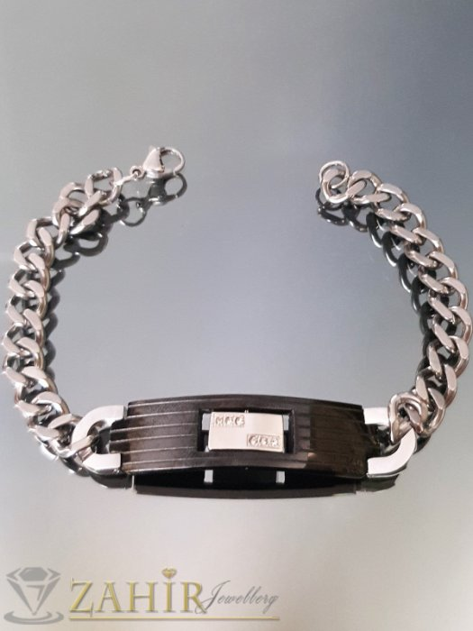 Бижута за мъже - Висококачествена стоманена гривна 22 см с черна плочка 5 см, широка 1.2 см - GS1328