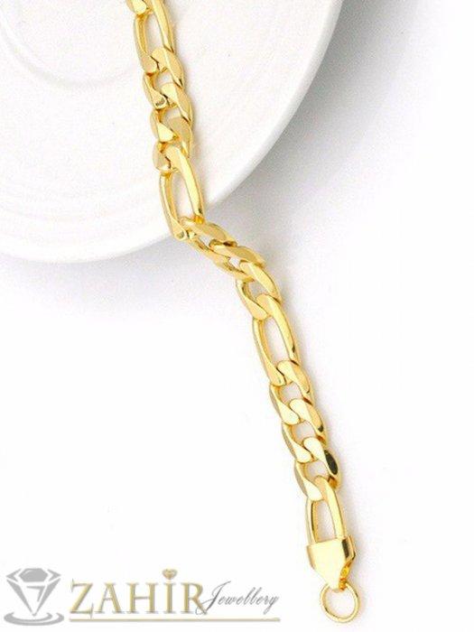 Мъжки бижута - Едра позлатена стоманена гривна, фигаро плетка,4 налични дължини, широка 0,9 см - GS1348