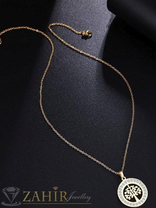 Дамски бижута - Нежна стоманена висулка Дървото на живота 2 см с кристална рамка на тънък ланец 45 или 50 см, златно покритие - K1716
