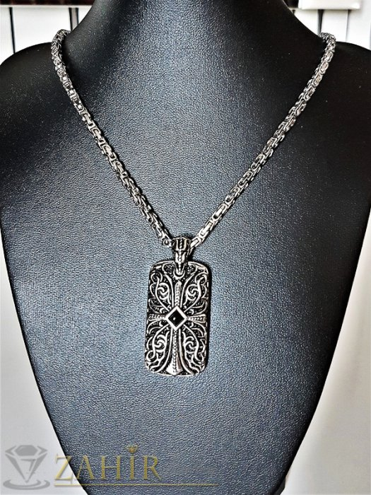 Дамски бижута - Висококачествен стоманен гравиран медальон с кръст 4 см на стоманен ланец 54 см, римска плетка - K1768