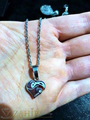 Нежно стоманено гравирано сърце 1,5 см на тънък стоманен ланец 50 см - K1769