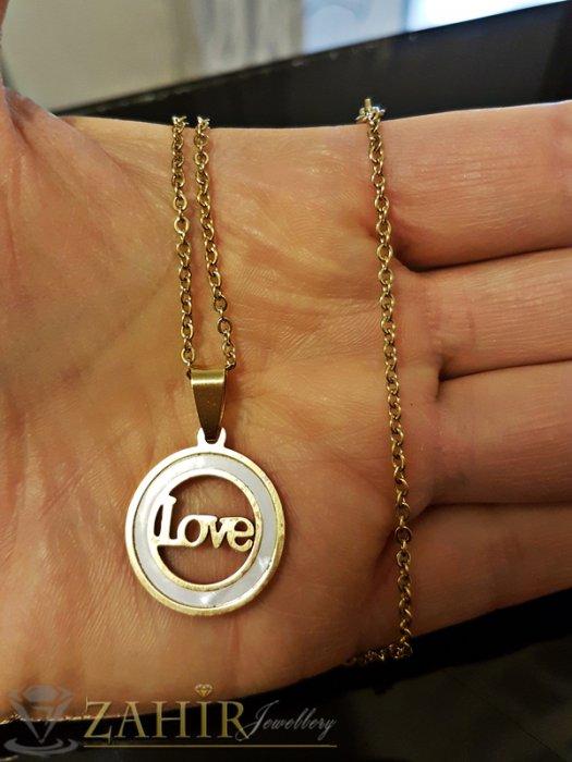Седефен стоманен медальон 2 см с надпис Love на тънък стоманен ланец 50 см - K1781
