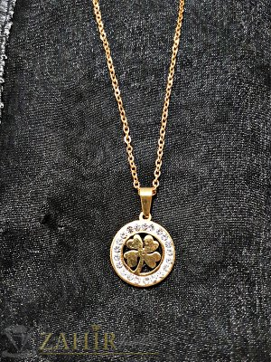 Кристален стоманен медальон 2 см с четирилистна детелина на тънък стоманен ланец 50 см - K1783