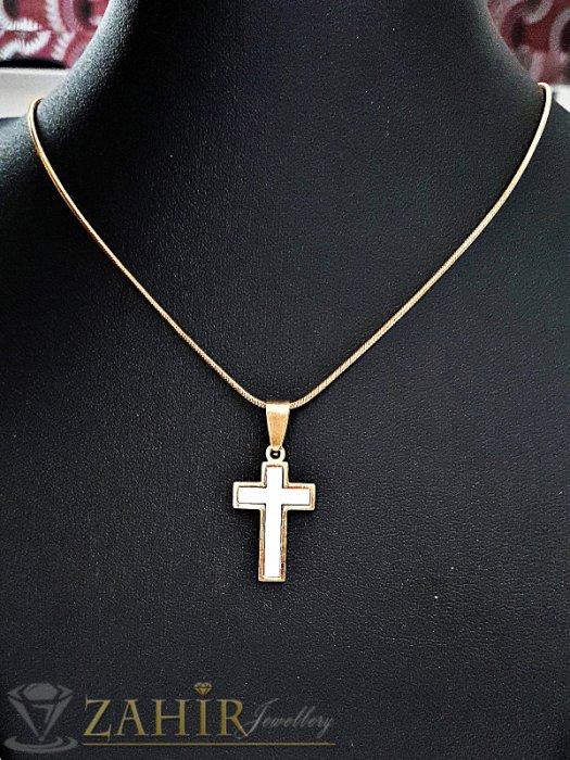 Дамски бижута - Нежен седефен 2,5 см позлатен стоманен кръст на ефирен ланец 48 см - K1803