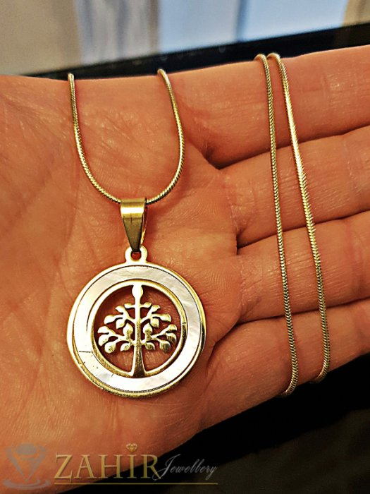 Красив седефен медальон с Дървото на живота 2,5 см на класически ланец 48 см - K1805