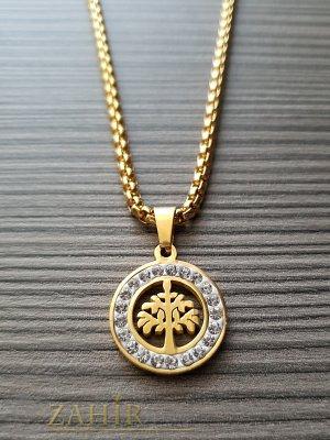 Класически медальон Дървото на живота 1, 7 см на изящен позлатен стоманен ланец 45 см - K1813