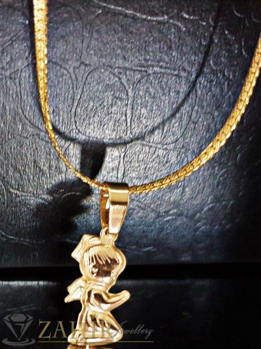 Дамски бижута - Нежно колие от позлатена стомана, колие 50 с изящно гравиран ангел 2 см - K1816