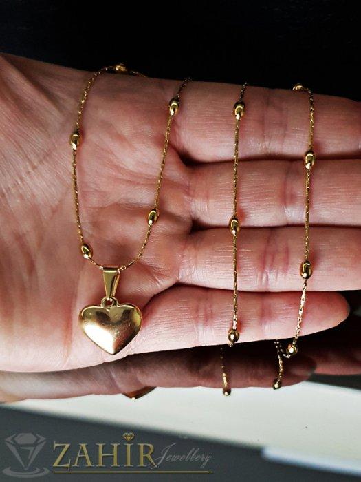 Дамски бижута - Нежно позлатено стоманено сърце 1,5 см на красив стоманен ланец 52 см - K1819