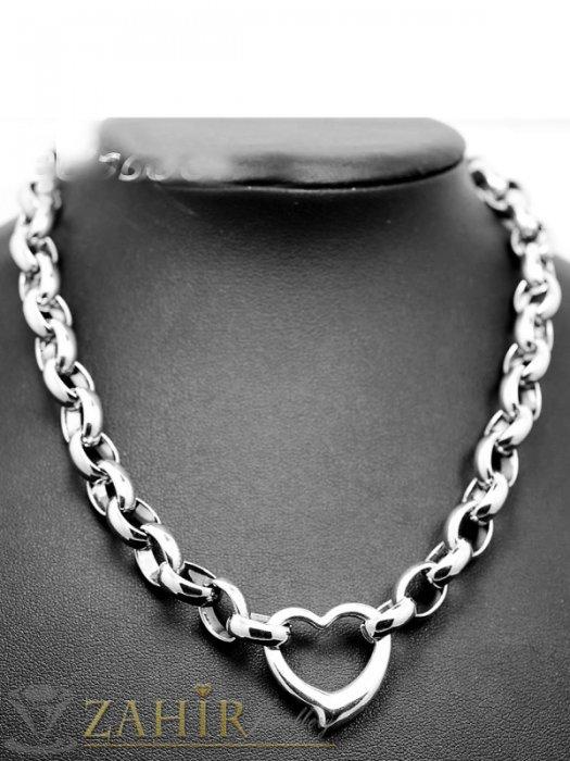 Дамски бижута - Висококачествен стоманен ланец в 4 размера с висулка сърце, широк 1 см - K1824