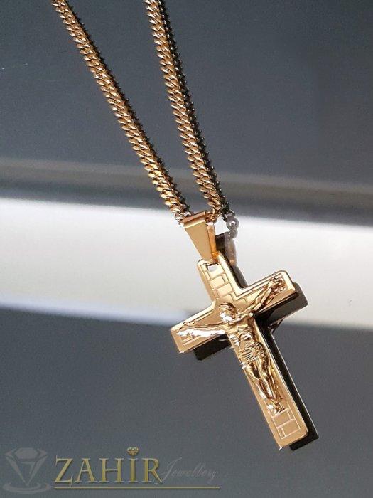 Дамски бижута - Единична бройка бутиков кръст от позлатена стомана 5 см на колие 42 см - K1830