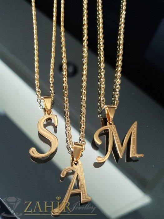 Дамски бижута - Позлатени стоманени букви 2,5 см на ланец в 3 размера - K1837
