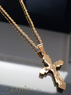 Позлатен стоманен кръст с разпятие 4 см, изящна изработка на  стоманена верижка 50 см- K1838