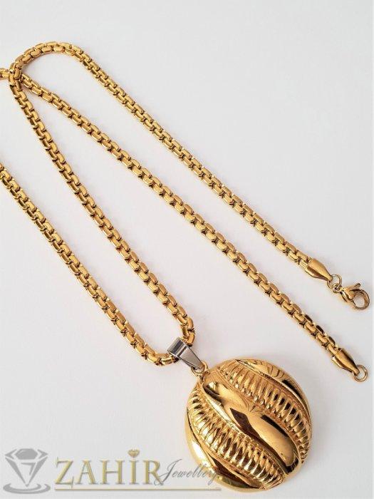 Дамски бижута - Елегантен стоманен змийски ланец 52 см с гравиран позлатен медальон 3,5 см - K1842