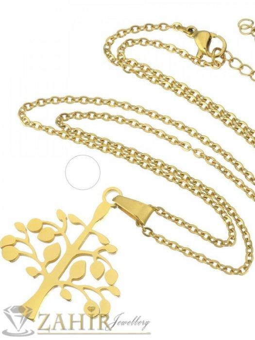 Дамски бижута - Позлатена стоманена висулка Дървото на живота 3,5 см на тънък ланец 45 см - K1878