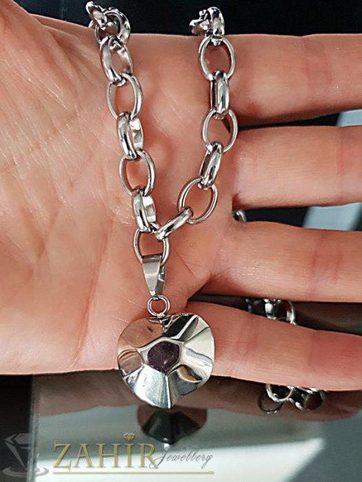 Висококачествен стоманен ланец в 2 размера с висулка фасетирано сърце 2 см - K1886