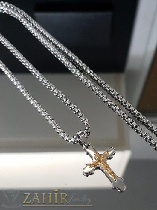 Дамски бижута - Много нежен двуцветен кръст 2,5 см от стомана на тънък кръгъл стоманен ланец в 3 размера - K1889