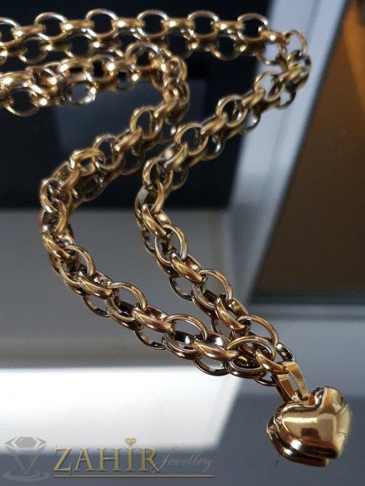 Перфектен стоманен позлатен дамски ланец в 2 размера с висулка позлатено сърце 1,5 см - K1892
