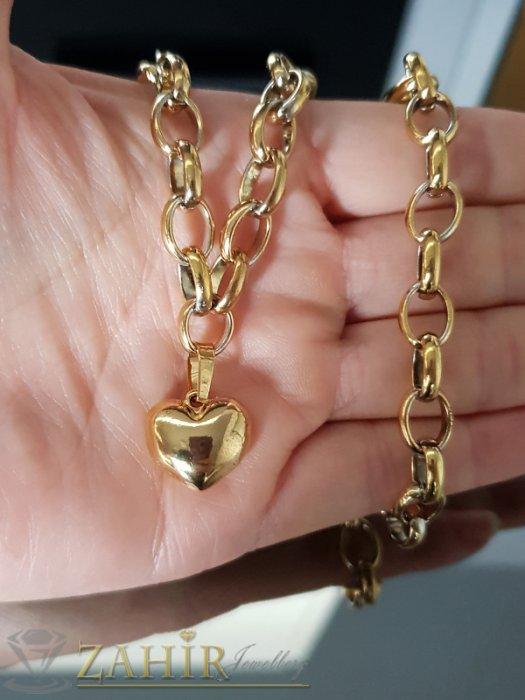 Дамски бижута - Перфектен стоманен позлатен дамски ланец в 2 размера с висулка позлатено сърце 1,5 см - K1892