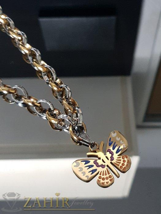 Дамски бижута - Неустоим двуцветен дамски ланец в два размера с висулка рисувана пеперуда 3,5 см - K1896
