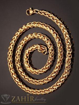 Много едър стоманен позлатен ланец дълъг 60 см , широк 0,7 см, плетени звена - K1901