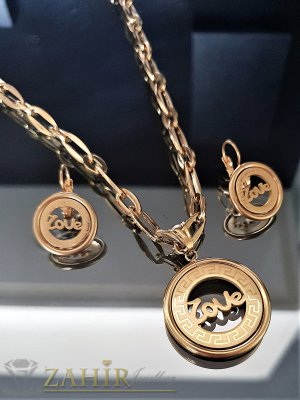 Великолепен стоманен комплект, ланец 52 см с висулка 3 см и обеци 2,5 см - KO1857