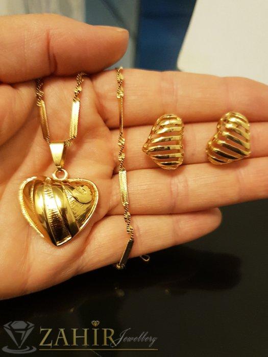 Дамски бижута - Изящен стоманен комплект със сърца, колие 55 см с висулка 2,5 см и обеци 1,8 см - KO1860