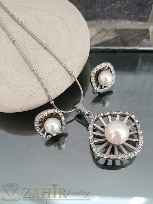 Перлен стоманен комплект, колие 52 см с висулка 3,5 см и обеци 1,8 см - KO1867