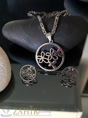 Непроменящ цвета си хитов римски ланец 52 см с медальон 3,5 см и обеци 2 см - KO1895