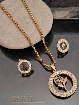 Романтичен стоманен комплект кристални рози, ланец 3 размера с висулка 3 см и обеци 1,5 см - KO1907