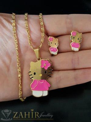 Романтичен комплект розови котета от стомана, колие 52 см с висулка 3 см и обеци 1,5 см - KO1911
