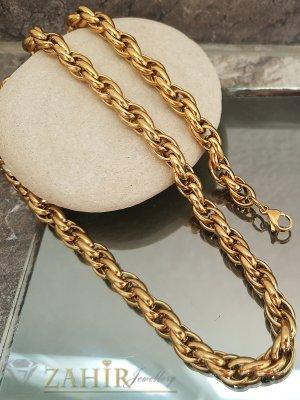 Позлатен стоманен комплект, ланец 50 см и гривна 20 см, широки 0,7 см - KO1960