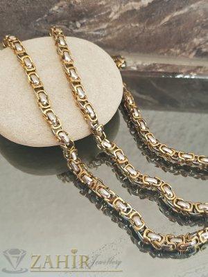 Стоманен комплект с позлатени елементи, ланец и гривна в 4 размера, широки 0,7 см - KO1961