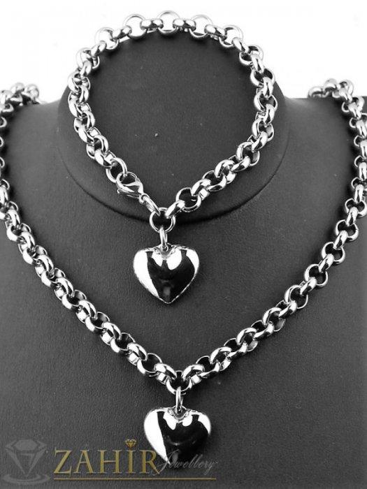 Великолепен стоманен комплект с висулки сърца,  ланец и гривна в 4 размера - KO1962