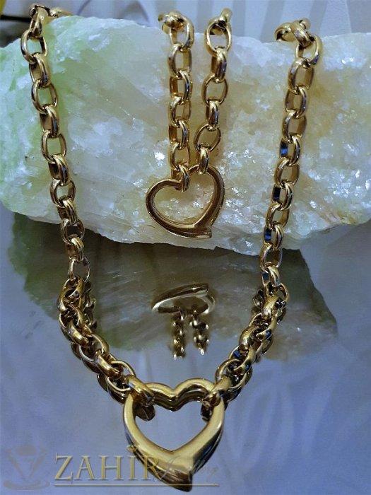 Дамски бижута -  Висококачествен стоманен позлатен комплект със сърца, ланец и гривна в 4 размера  - KO1784