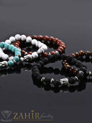 Различни видове гривни с елемент буда и естествени камъни 8 мм, налична в 5 размера - MA1088